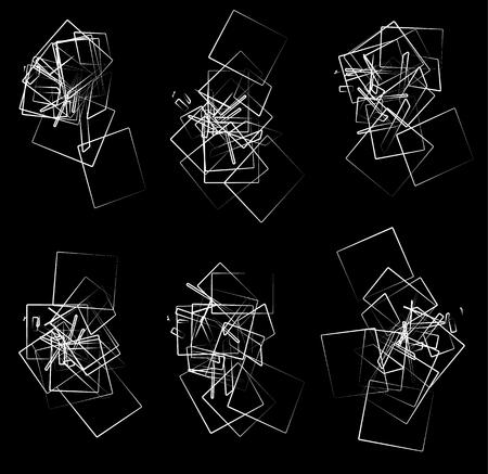 jumbled: Random, scattered angular elements, shapes. Set of 6 abstract monochrome rectangular elements