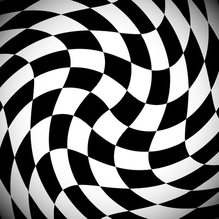 deformation: Shaded checkered pattern with spirally distortion effect - Checked pattern with vortex deformation, black and white background.