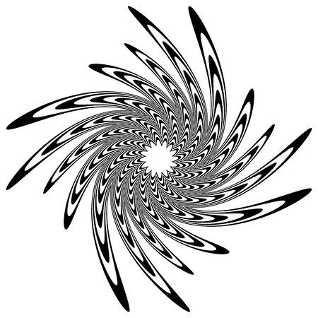 gyration: Circular shape with spiral, vortex distortion effect. Black and white rotating circular, concentric element. Illustration