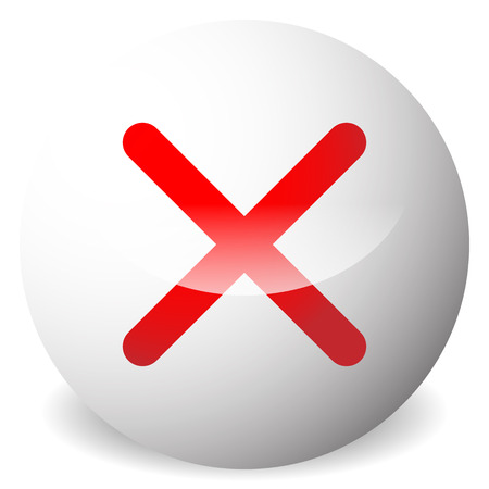 Circle with X shape, cross. Delete, remove, quit button. Red closure, wrong, prohibition, restriction, cancellation icon