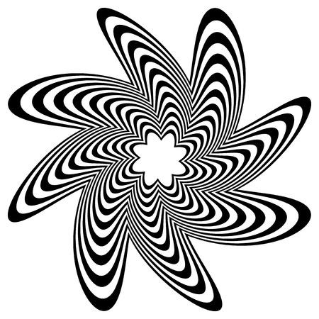 円形スパイラル渦歪み効果を持つ。黒と白の円形、同心の要素を回転します。