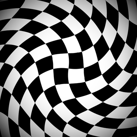 squeeze shape: Shaded checkered pattern with spirally distortion effect - Checked pattern with vortex deformation, black and white background.