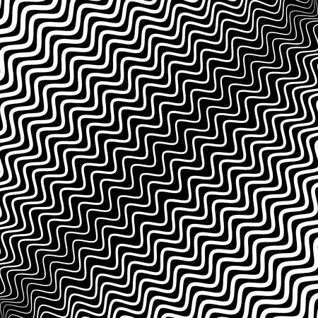 bw: Irregular wavy (zig zag) lines. Monochrome abstract texture, pattern, background with diagonal distorted lines in square format.