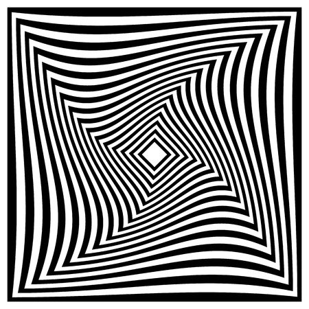 greyscale: Spirally radiating squares abstract monochrome pattern. Radiating squares.