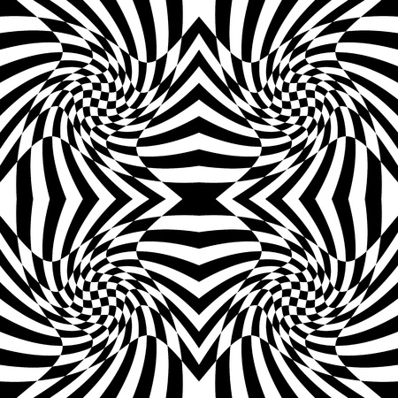 squeeze shape: Mirrored chequered pattern with distortion effect. Symmetric pattern. Repetitive.
