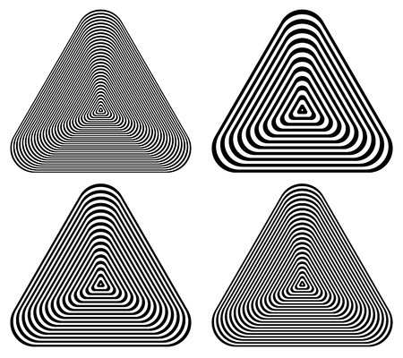 epicentre: Radiating contour triangle isolated on white. abstract monochrome, geometric graphic Illustration