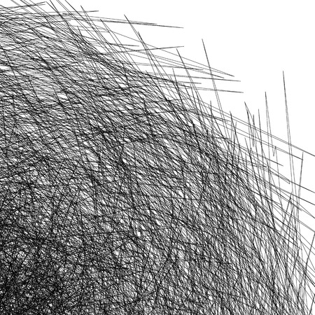 intersecting: Entangled texture of thin intersecting lines. Abstract monochrome, black and white background