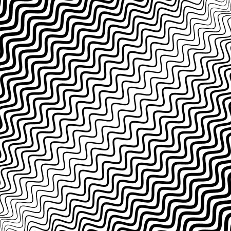 b w: Irregular wavy (zig zag) lines. Monochrome abstract texture, pattern, background with diagonal distorted lines in square format.