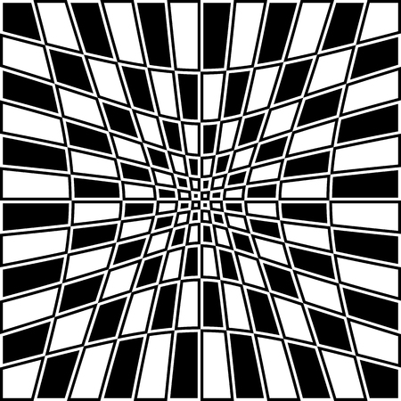 deceptive: Checkered pattern with distortion effect. Opposite color border on squares.
