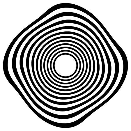 distortion: Circular shape with spiral, vortex distortion effect. Black and white rotating circular, concentric element. Illustration