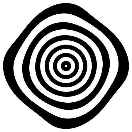 rotating: Circular shape with spiral, vortex distortion effect. Black and white rotating circular, concentric element. Illustration