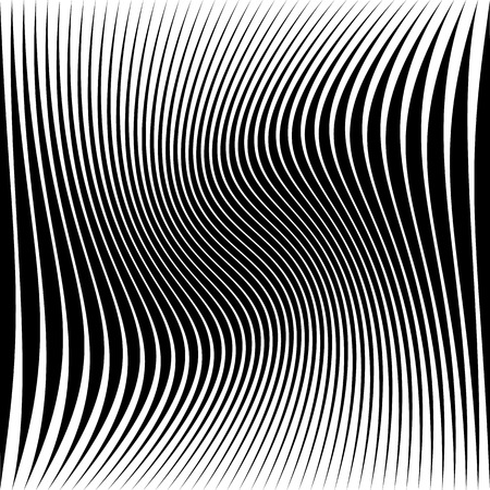 flexion: Wavy dynamic irregular lines pattern. Stripes with waving distortion. Minimal lined texture, background.