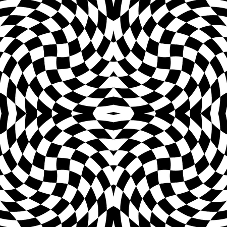 mirrored: Mirrored chequered pattern with distortion effect. Symmetric pattern. Repetitive.