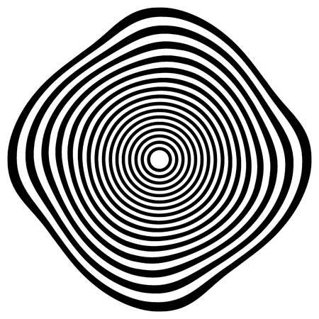 squeeze shape: Circular shape with spiral, vortex distortion effect. Black and white rotating circular, concentric element. Illustration