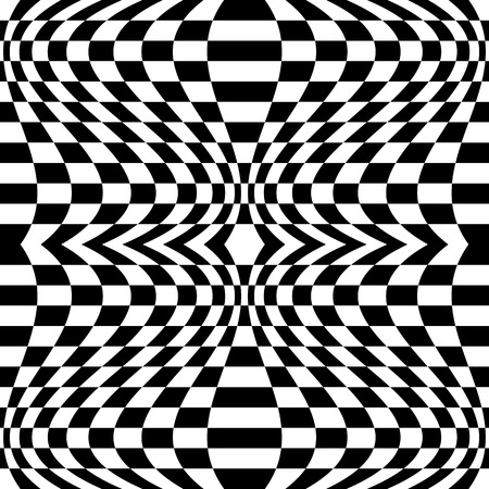 distortion: Mirrored chequered pattern with distortion effect. Symmetric pattern. Repetitive.
