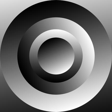 circulos concentricos: c�rculos conc�ntricos sombreadas con gradientes de escala de grises. Resumen ilustraci�n en blanco y negro.