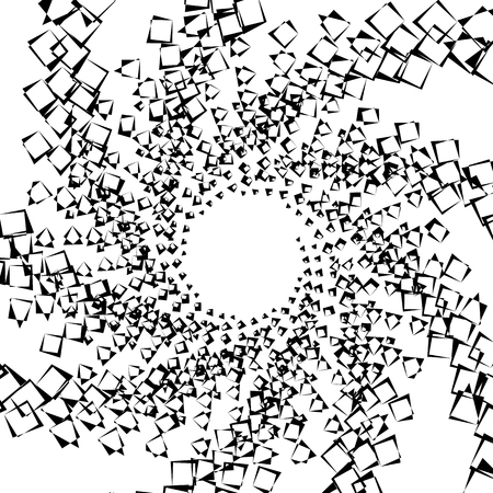 blocky: Abstract spiral element, background with angular motif. Squares with rotation, twirling distortion effect.