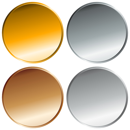 precious metal: Gold, silver, bronze and platinum badges. Top 4 places. Blank precious metal buttons.