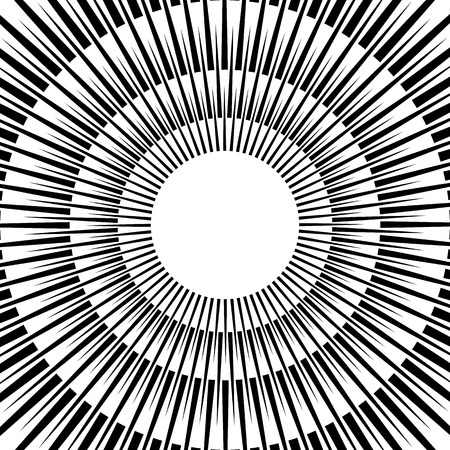 expanding: Abstract circular graphic with radiating - radial pointed lines.