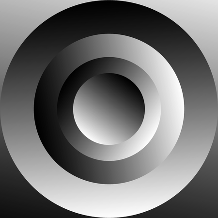 círculos concéntricos sombreadas con gradientes de escala de grises. Resumen ilustración en blanco y negro.