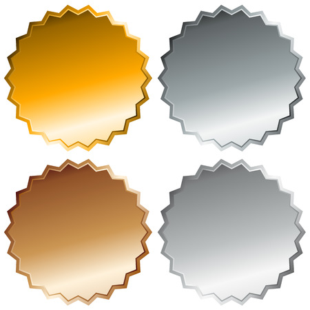 metalic sheet: Gold, silver, bronze and platinum badges. Top 4 places. Blank precious metal buttons.