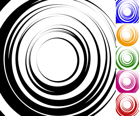 epicentre: Monochrome background set with random concentric, radiating, radial circles, set of 6 colors