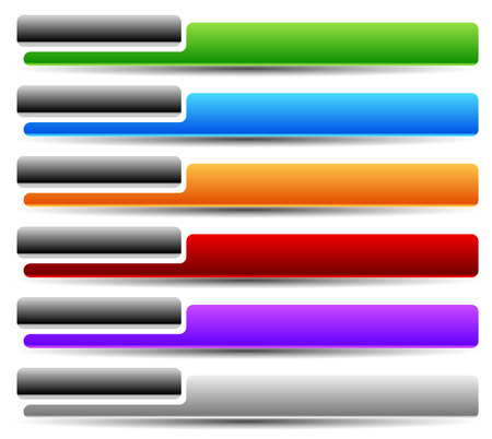 tabs: Colorful button, banner background templates. Horizontal tabs with blank space.