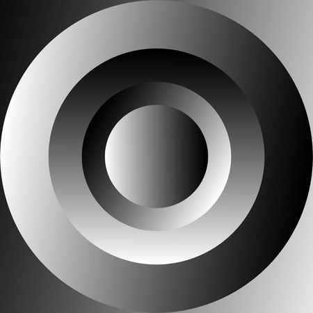 eyestrain: Shaded concentric circles with grayscale gradients. Abstract monochrome illustration.