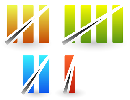 numerals: Colorful roman numbers, roman numerals with strike through lines. Illustration