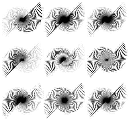 centric: Asymmetric irregular lines. Set of 9 different elements.Asymmetric irregular lines. Set of 9 different elements.