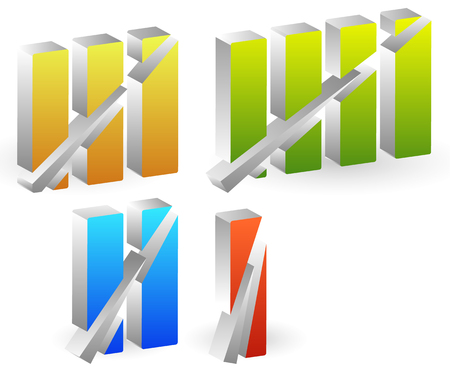roman numerals: Colorful roman numbers, roman numerals with strike through lines. Illustration