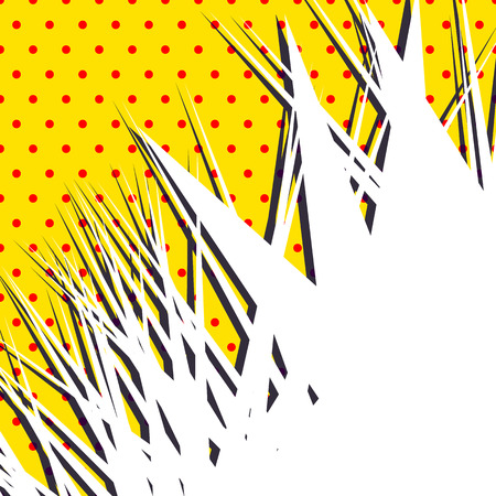 spiky: Sharp, edgy abstract shape over popart, polka dot, dotted dutone pattern with shadow. Spiky element with blank white space. Background in square format.