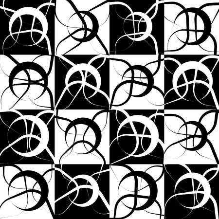 Repeatable monochrome, geometric pattern with random, scattered intersecting circles. Black and white repeatable pattern.