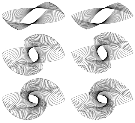 oscillate: Set of 9 element with rotating, radiating lines. Illustration
