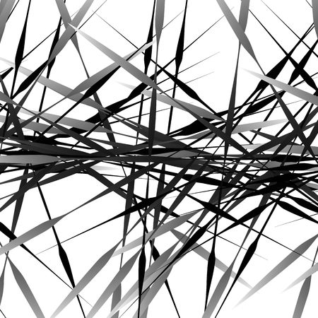 crisscross: Irregular texture of chaotic, grayscale, edgy lines. Random, scattered pattern. Geometric art.
