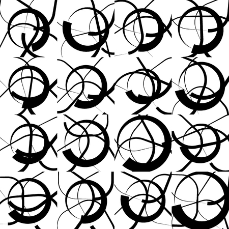 snaky: Repeatable monochrome, geometric pattern with random, scattered intersecting circles. Black and white repeatable pattern.