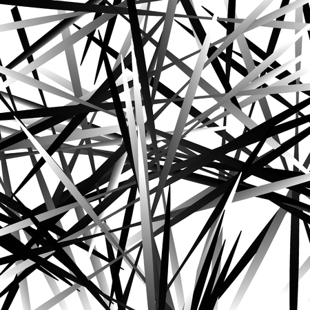 Irregular texture of chaotic, grayscale, edgy lines. Random, scattered pattern. Geometric art.