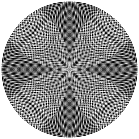 Overlapping, intersecting circles. Moire effect. Monochrome element.