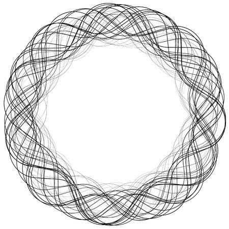irregular: Monochrome abstract circular, irregular  element on white