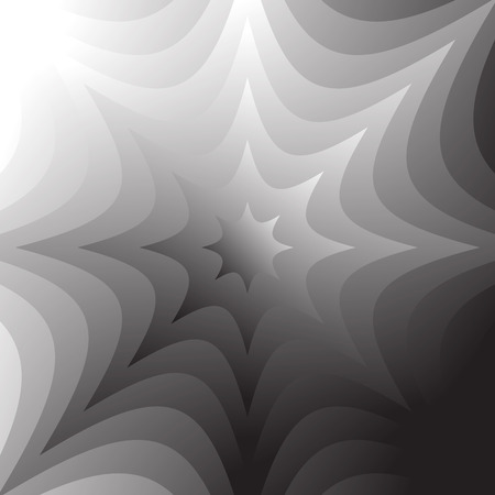 squeeze shape: Abstract grayscale, geometric background in square format with distorted radiating shapes.