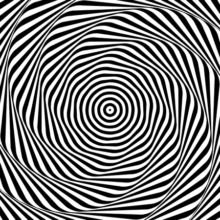 distortion: Uncolored, grayscale radiating shape with spirally, vortex distortion.