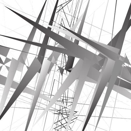 Abstract geometric illustration. Monochrome geometric shapes. Grayscale. Vektorové ilustrace