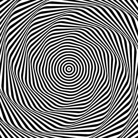 radiating: Uncolored, grayscale radiating shape with spirally, vortex distortion.