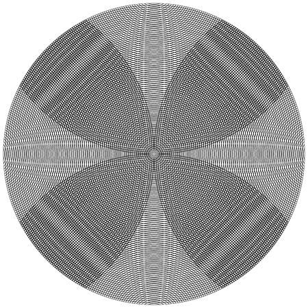 intersecting: Overlapping, intersecting circles. Moire effect. Monochrome element.
