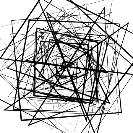 Random intersecting lines. Abstract monochrome geometric art. Illustration