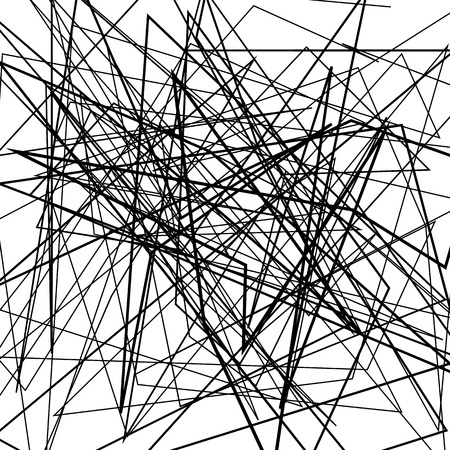 chaotic: Irregular, random chaotic lines. Abstract monochrome illustration.