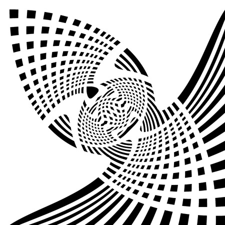 Distorted symmetric geometric element. Abstract monochrome illustration.