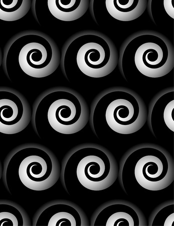 gyration: Seamless pattern with spiral. Monochrome repeatable pattern.
