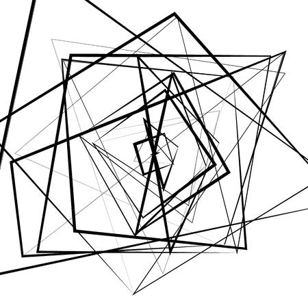 random: Random intersecting lines. Abstract monochrome geometric art. Illustration