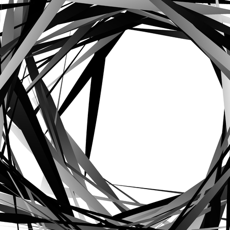 amorphous: Geometric overlapping - intersecting shapes. Abstract grayscale illustration. Vector Illustration